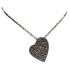 Sterling Silver Marcasite Asymmetrical Heart Charm Necklace