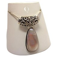 Paolo Romeo Italian 925 Sterling Silver Mother of Pearl Large Pendant and Chain Necklace
