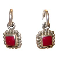 Mexican Sterling Silver Faux Coral Chunky Charm Hoop Earrings