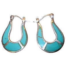 Sterling and Turquoise Inverted Horseshoe Flat Hoop Earrings