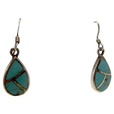 Vintage Sterling Silver and Turquoise Mosaic Teardrop Earrings