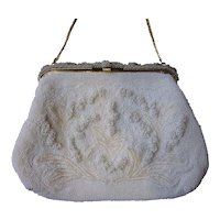 Vintage 1940s White Glass Bead Floral Evening Bag Purse with Long Gold-Toned Chain