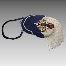 Vintage 1920s Art Deco Blue and Multicolor Floral Glass Beaded Flapper Purse