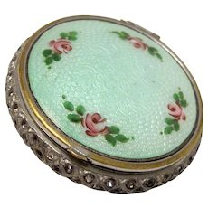 Vintage Art Deco 1920s Painted Rose Guilloche Enamel and Rhinestone Mirrored Compact