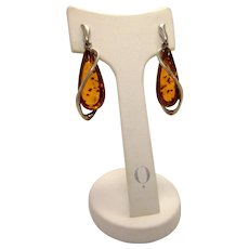 Vintage Polish Livonia Amber and Sterling Silver Drop Earrings