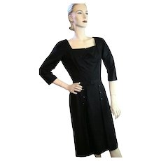 Vintage 1950s Jerry Parnis New York Black Silk Belted Cocktail Dress