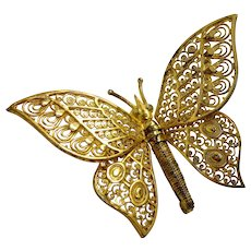 Vintage German Sterling Silver Gold Tone Butterfly Pin Brooch with Movable Adjustable Wings