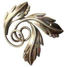 Vintage Mexican Sterling Silver Maricela Tasco Taxco Swirling Leaves Pin Brooch