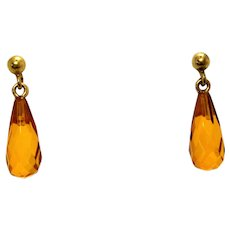 Vintage Gold-Toned Amber Hued Faceted Glass Teardrop Earrings