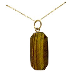 Gold Plated Sterling Silver Necklace with Geometric Tiger's Eye Pendant Made in Italy