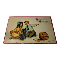 Vintage Brundage Postcard Girl Boy Black Cat Pumpkin JOL