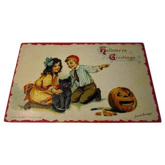 Vintage Brundage Postcard Girl Boy Black Cat Pumpkin JOL