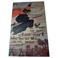 Vintage F.A. Owen Halloween Postcard with Witch