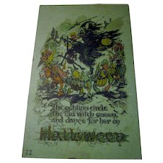 Rare Vintage Nash Halloween Postcard on Green cardstock Witch Goblins Jols veggies