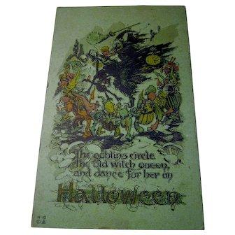 Rare Vintage Nash Halloween Postcard on Green cardstock Witch Goblins Jols veggies