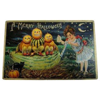 Unusual Vintage Halloween Postcard Girl with Horn and Bell Veggie People