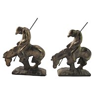 "Vintage Cast Metal with Brass Plating ""End of the Trail"" Bookends, End of the Trail Metal Art, Antique Book Ends, Horse and Rider Bookend-Native American Indian"