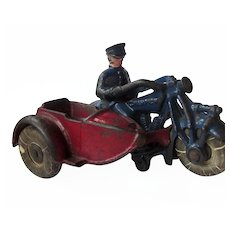 True Vintage 1930s Hubley Champion Cast Iron Toy Blue and Red Police Officer on Motorcycle with Sidecar and Original Rubber Tires
