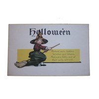 Vintage Halloween Postcard Mint condition by Nash Series 38 Young witch on broomstick