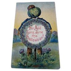 Vintage Halloween postcard Auld Lang Syne JOL Wreath thistle
