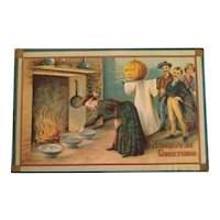 Vintage 1910 Halloween Postcard JOL Ghost Blindfolds and bowls game