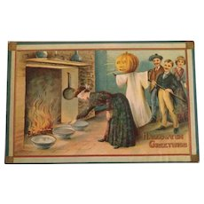 Vintage 1910 Halloween Postcard JOL Ghost Blindfolds and bowls game
