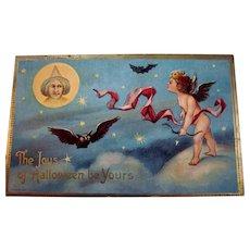 Vintage Halloween Postcard L.R.  Conwell Series #246,  Cupid, Bat, Owl, Witch.
