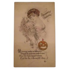 Vintage Halloween Postcard Gibson girl by Gartner &Bender by GAB Halloween Greeting
