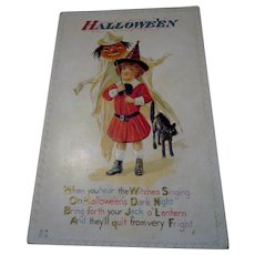 Vintage Halloween Postcard by Nash H14  Young Witch JOL  Witch Black Cat