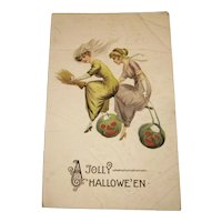 Vintage Halloween Postcard Pretty Witches and JOLs