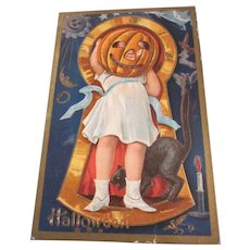 Vintage Halloween Keyhole Series no. 3 Girl with JOL Black Cat