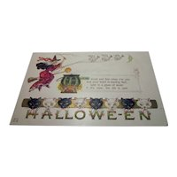 vintage Halloween Postcard by Nash Witch Geese Cats