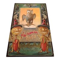 Vintage 1911 M.L. Jackson Halloween Postcard Halloween Don'ts Owl, Bats, JOLs, Corn people