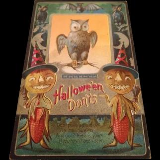 Vintage 1911 M.L. Jackson Halloween Postcard Halloween Don'ts Owl, Bats, JOLs, Corn people