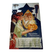 Vintage Halloween Postcard Nash Series 2 Halloween Precautions