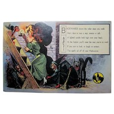 Vintage Halloween Postcard 1073 series no 1 witches, cat, demon, spells