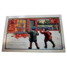 Vintage Whitney Halloween Postcard kids tapping on window JOLs