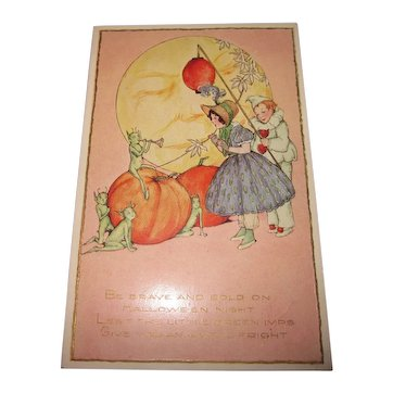 Vintage and rare c. 1910 Whitney Made Halloween Postcard with Green Imps and Full Moon