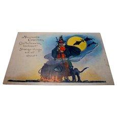 Vintage Halloween Postcard witch cauldron series 363 Miller Art Co.