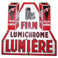French Lumiere Lumichrome Film Camera Vintage 2 Sided Porcelain Sign Camera Film French Art Deco Red White Black