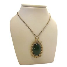 True Vintage 1920s Oval Jade Cabochon Pendant Necklace Crown-set in 14K Filigree on Antique Gold Wash Chain