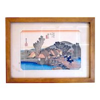 Exquisite Vintage Framed Japanese Woodblock Color Print Waterfront Rural Village Scene