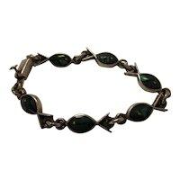 Taxco Mexican Sterling Malachite Onyx Fish Bracelet