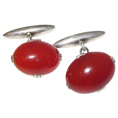 Art Deco Sterling Carnelian Cufflinks
