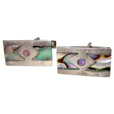 Mexican Sterling Abalone Cufflinks