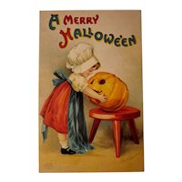 Vintage Ellen Clapsaddle Halloween Postcard Little Girl with Jack-O-Lantern
