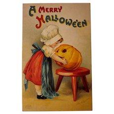 Vintage Ellen Clapsaddle Halloween Postcard Little Girl with Jack-O-Lantern