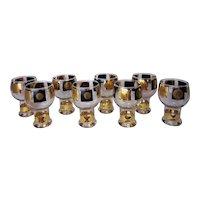 Vintage Mid Century Modern Cera Glass Co. Coin Motif Beer Goblets (Set of 8)