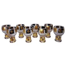 Vintage Mid Century Modern Cera Glass Co. Coin Motif Beer Goblets (Set of 8)