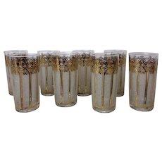 """Vintage MCM Washington Pasinski Encrusted """"Tiara"""" Pattern Highball Glasses (Set of 8)"""